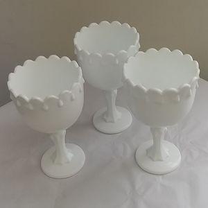 Final 3 Vintage Milk Glass Goblets